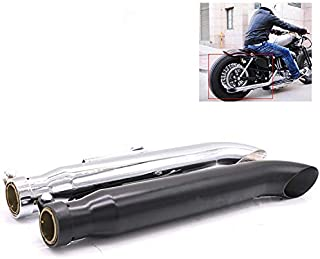 Motorcycle Turn-out Style Slip-on Universal Exhaust Pipe Muffler For Harley Dyna Softail Fatboy Road King FLHR Sportster 1200 883 (Black)