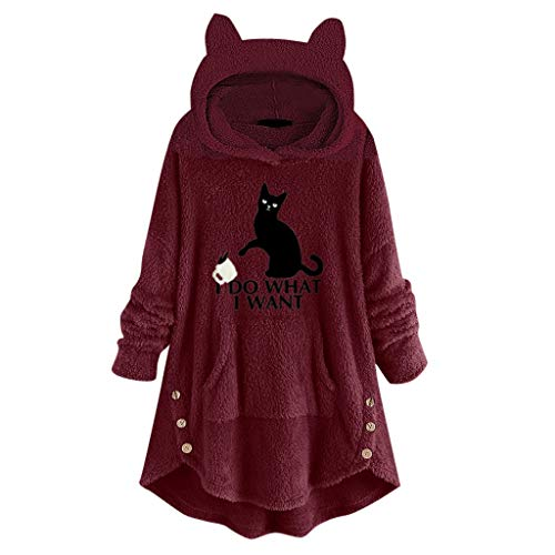 Hoodies FüR Frauen - Frauen Oversize Kapuzen Pullover Damen Faux Fleece Stickerei Katze Ohren Knopf Saum Hoodie Top Outerwear(Wein,L)