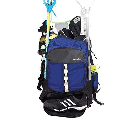 Athletico Lacrosse-Tasche – extra großer Lacrosse-Rucksack – für alle Lacrosse oder Feldhockey-Ausrüstung – zwei Stockhalter und separates Steckfach, blau, X-Large