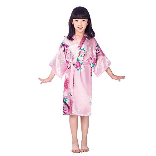 Child's Satin Kimono Robes for Girls Sleepwear Peacock Flower Robe for Spa Wedding Birthday Gift