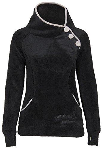 Sublevel Teddy Fleece Jacke mit Stehkragen und Daumenlöchern | Eleganter Pullover aus hochwertiger Fleece, Größe:M, Farbe:Black