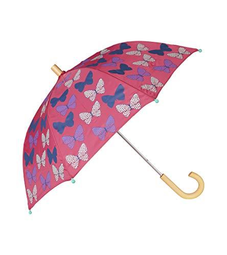 Hatley Mädchen Printed Umbrellas Regenschirm, Pink (Spotted Butterflies 650), One size (Herstellergröße: O/S)