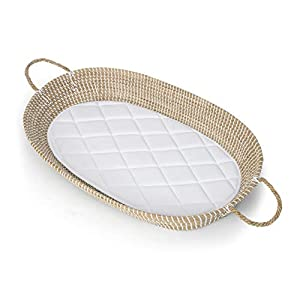 Baby Diaper Changing Basket Tray by My Snuggly Baby | Handwoven Changing Moses Basket from Natural Seagrass with Diaper Changer Pad | Perfect for Boho Nursery Changer Dresser Tables & Photography