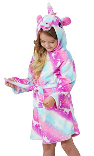 Soft Unicorn Hooded Bathrobe Sleepwear - Unicorn Gifts for Girls (5-6 Years, Pink Galaxy Unicorns)