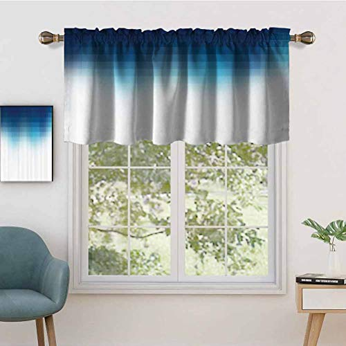 Short Straight Kitchen Rod Pocket Drapery Valances Shaded Digital Square Grid Lined Edgy Mosaic Motifs Pixel Effects, Set of 1, 42'x18' for Living Room