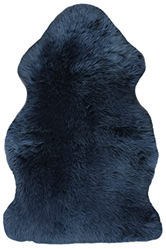 Natural Milan Thick and Lush 2.5 inch Pile Anti-Skid Backing Hypo-Allergenic Premium Quality Luxury New Zealand Shearling 2 x 3 ft Sheepskin Area Rug Throw Single Pelt, Navy