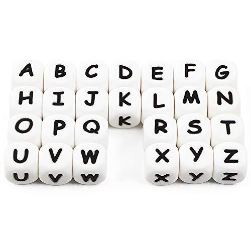 Alfabeto Lettere Bulk Perline in Silicone Fai da te Kit Personalizzato Nome Personalizzato 12mm Mix BPA Free Cube Baby Dentizione Masticazione (104 Pcs)