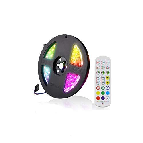Tira de luces LED RGB con música, botones y mando a distancia, 16 colores, regulable, función de temporizador, cinta de luz para cocina, fiesta