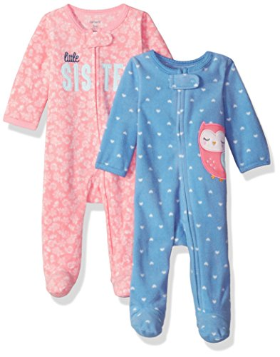 Carter's Baby Girls' 2-Pack Microfleece Sleep and Play, Owl/Sister, 3 Months
