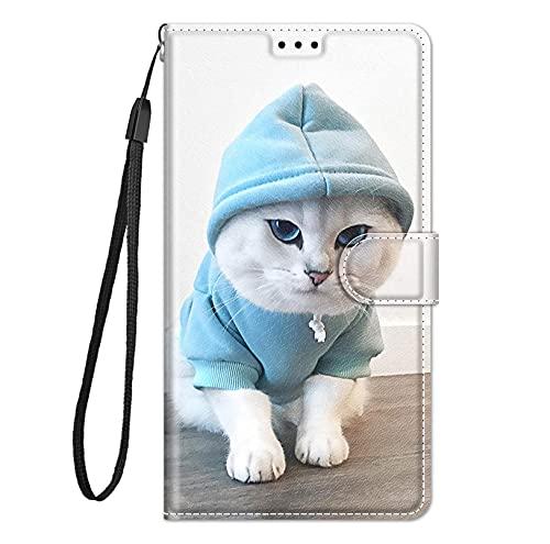 BABEYT Capa carteira para LG V50 com [alça de pulso][suporte] Capa carteira de couro sintético premium com estampa de desenhos animados, capa magnética para LG V50 (#15)