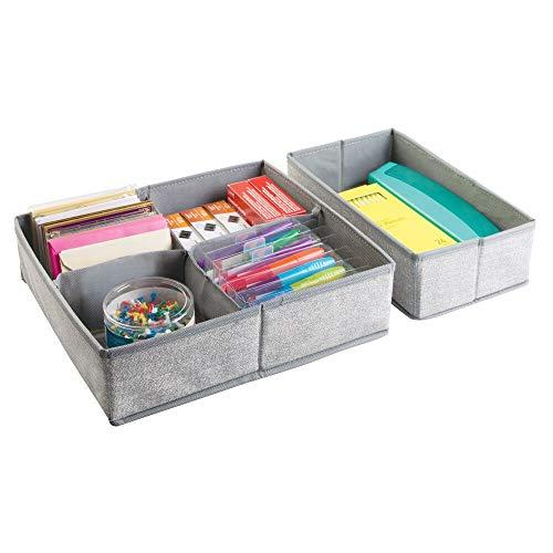 mDesign Organizador de tela – Set de dos piezas de cajones organizadores de tela – Perfectos cajones de tela para organizar su escritorio – Con 5 compartimentos – Color: gris
