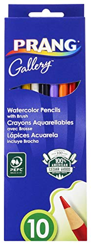 Prang Watercolor Colored Pencils, Includes Brush, Assorted Colors, 10 Count (23650)