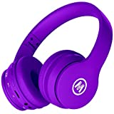 Mokata Volume Limited 85dB Kids Headphone Bluetooth Wireless Over Ear Foldable Stereo Sound Noise Protection Headset with AUX 3.5mm Cord Microphone for Boys Girls Toddler Cellphone Pad TV Purple