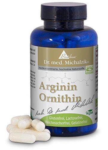 Arginin Ornithin nach Dr. med. Michalzik - 120 Kapseln - je Kapsel 300 mgL-Arginin 300 mg L-Ornithin - ohne Zusatzstoffe - von BIOTIKON®