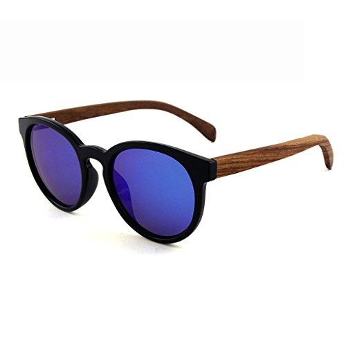 LX-LSX Occhiali da Sole polarizzati Legno di bambù di Alta qualità Piede Telaio Rotondo retrò Legno Moda True Film Occhiali protettivi per Esterni (Colore : Blue Lens)