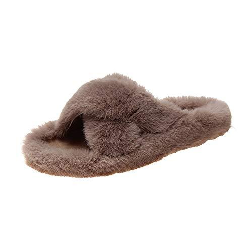 FREEWM - Sandalias de felpa para mujer, cómodas, suaves, para interiores y exteriores E 33/34 EU