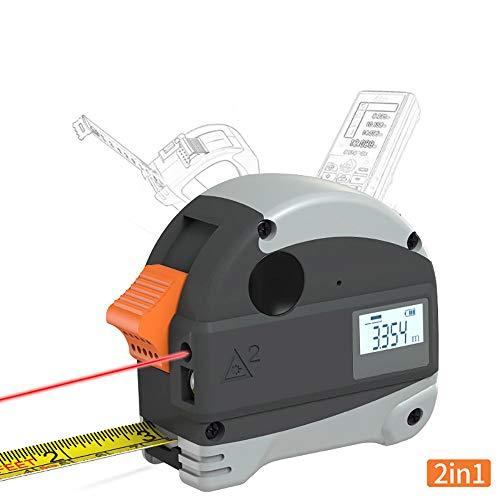 Laser Tape Meting 2-in-1, Laser Meeting, 5M Tape Meeting, met Grotere LCD Display,Schroevendraaier, Magnetische Haak en Zelfkalibratie Modus voor Metingen 40m Grijs