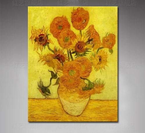 N / A Rahmenlose Malerei Sonnenblumenmalerei auf Leinwand Blumenölgemälde Wandkunst42X56cm