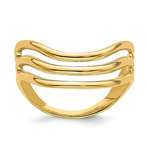 14k Yellow Gold Triple Wave Fashion Thumb Band Ring Size 9.00 Fine Jewellery For Women Gifts For Her