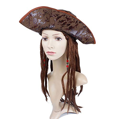 Sparrow Pirate Hat lang bruin haar Viscera vlecht Pruik Mannen Vrouwen, Cosplay Halloween Party Fancy Dress Show