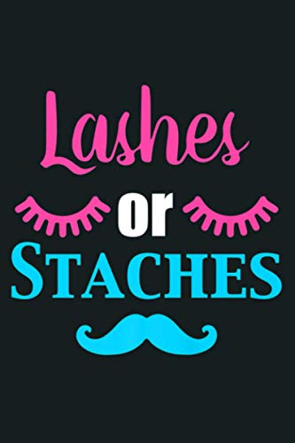 Lashes Or Staches Gender Reveal Party Supplies Premium: Notebook Planner - 6x9 inch Daily Planner Journal, To Do...