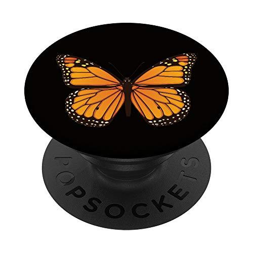 Mariposa Monarca Fondo negro PopSockets Agarre y Soporte par