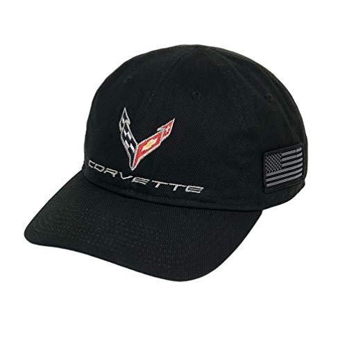 C8 Corvette Next Generation Tactical Hat with USA Flag - Black