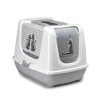 Maison Toilette pour Chat XXL Jumbo 57 CM avec SÉRIGRAPHIE Cats in Love pour Chat jusqu'À 8/9 KG OU Multi Chats