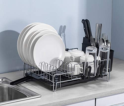 Dish Drainer Rack with Drip Tray. Removeable Drip Tray and Swivel Spout, Nano Coated and Rust Proof. Utensil Holder, Draining Board for Kitchen Counter Top.