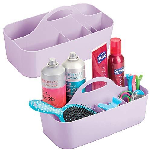mDesign 2er-Set Duschkorb mit 6 Fächern – tragbarer Aufbewahrungskorb aus Kunststoff für Badaccessoires – Duschablage für Duschgel, Shampoo, Rasierer und Co. – helllila
