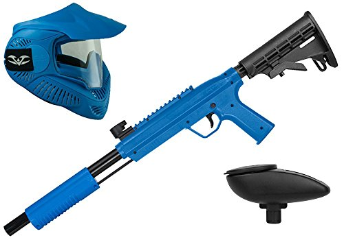 Valken Kinder Kids Tactical Gotcha Gun inkl. MI-3 Maske und Loader 120-cal. 50, 0.5 J-Blue Paintball Markierer Set, blau, M