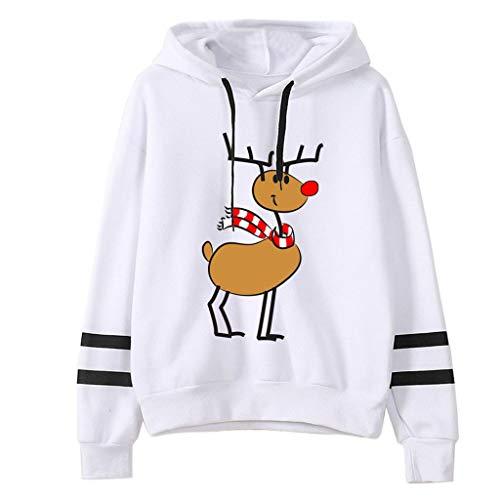 JiaMeng Mode Bequem Casual Pulli Weihnachtsmann Drucke Hoodie mit Kordel und Taschen Tops Damen Langarm Sweatshirt Weihnachten Kapuzenpullover