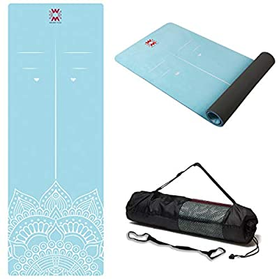 "WWWW 4W Suede TPE Yoga Mat Eco Friendly Non Slip Yoga Mats with Carrying Strap and Bag 72""x 24"" Extra Thick 1/4"" Exercise & Workout Mat for Yoga Pilates Home Fitness"