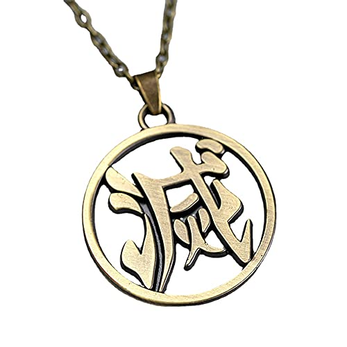 BZM Entorno de animación, Collar de bronce de asesino demonio, Tanjiro Sun Diosa collar, colgante de aleación y caja de joyería, Piedra,