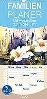 Mit Aquarellen durch das Jahr - Familienplaner hoch (Wandkalender 2022 , 21 cm x 45 cm, hoch): Landschaften und Blumen in Aquarell (Monatskalender, 14 Seiten )