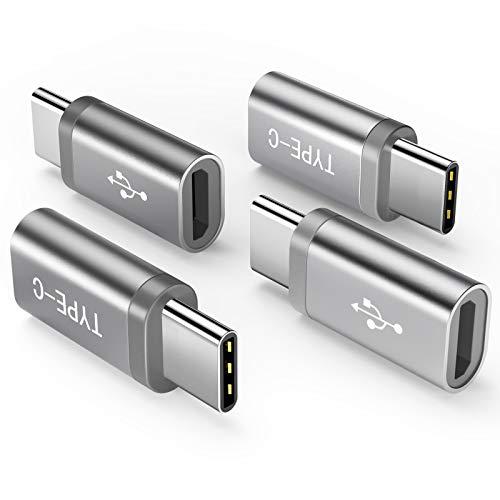 USB C Adapter auf Micro USB [ 4 Stücke ] Snowkids USB Typ C adapter Konverter 56K Widerstand für Samsung S9 S8 plus Note 9 8 A5 A3 2017,LG g5 g6, Xperia XZ,Huawei P9/P10 (GRAU / SILBER)