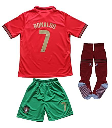 FPF 2021 Portugal #7 Cristiano Ronaldo Kids Football Soccer Jersey/Shorts/Socks Kit Youth Sizes (Ronaldo Red, 28 (10-11 Years))