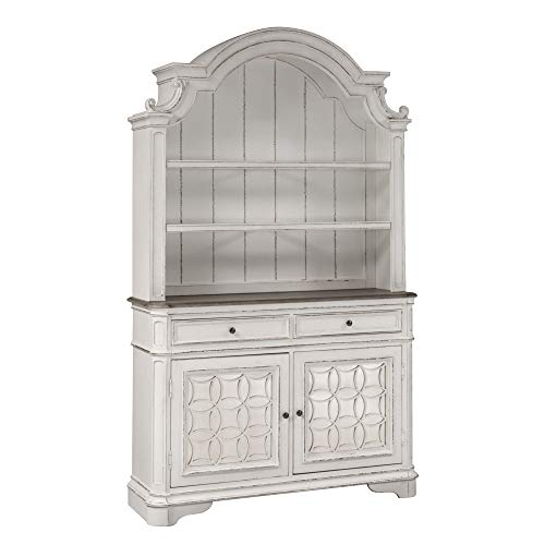 Liberty Furniture Industries Magnolia Manor Hutch & Buffet, W56 x D18 x H92, White