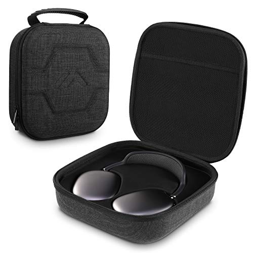 MoKo Funda Protectora Compatible con AirPod MAX, Portátil Bolsa de Almacenamiento de EVA para Auriculares, Estuche Rígido Absorción de Golpes para Transportar Headphone, Cables USB - Gris Oscuro