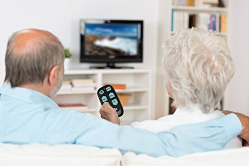 Universal Big Button TV Remote - EasyMote | Backlit, Easy Use, Smart, Learning Television & Cable Box Controller, Perfect for Assisted Living Elderly Care. Black TV Remote Control