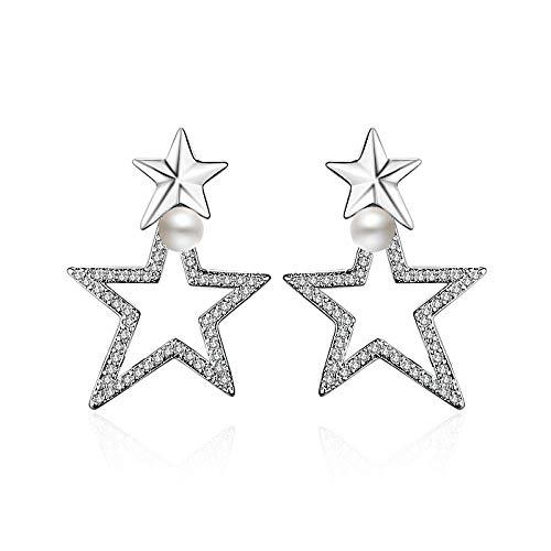 YFZCLYZAXET Pendientes Mujer Pendientes De Perlas De Moda De Circón De Plata Esterlina Pendientes De Joyería De Plata Esterlina para Mujer