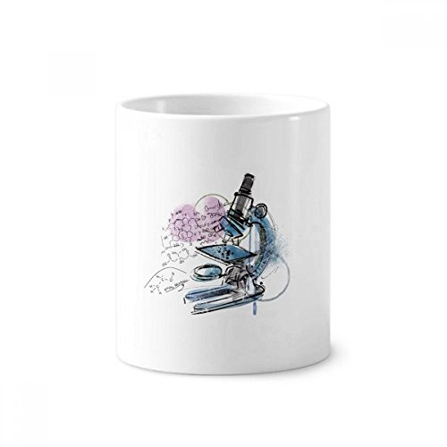 DIYthinker Chemie Kenntnisse sichergestellt Mikroskop Keramik Zahnbürste Stifthalter Tasse Weiß Cup 350ml Geschenk 9.6cm x 8.2cm hoch Durchmesser