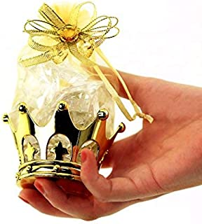 JC HUMMINGBIRD 48PC Gold Crown Pouch Fillable for Candies, Table Decorations, Party..