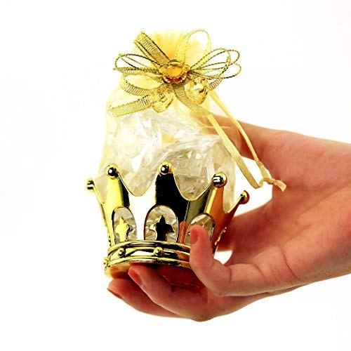 JC HUMMINGBIRD Fillable Gold Crown with Pouch Party Favors, 48 Pieces