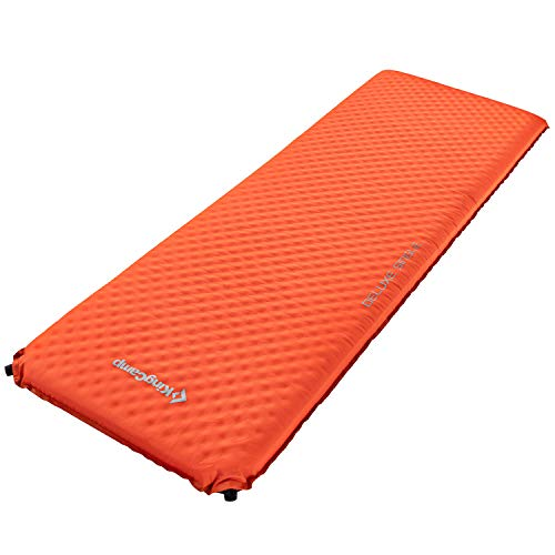 KingCamp Camping Sleeping Foam Mattress - Deluxe Single Self Inflating 3 inches Thick Pad with Carry Bag, Suitable for Family Outdoor Activities(Orange-Deluxe Single)
