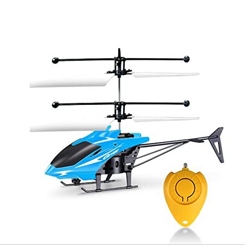 Eléctrico Micro sin escobillas Mini RC Helicópteros Control remoto Aviones Niños Juguetes con Gyro (azul)