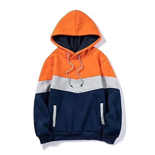 men's loose hoodie couple sweater pullover block sweater Color top Orange