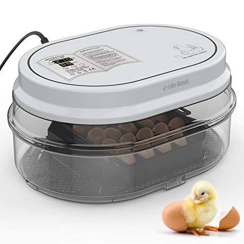 LifeBasis孵卵器 インキュベーター 孵化器 自動転卵 鳥類専用18個入卵 ヒヨコ生まれ 家庭用大容量孵卵機 子供教育 自動温湿度制御ふ卵機 湿度保持 デジタル表示 鶏卵 アヒル うずら 【正規品】【一年保証】