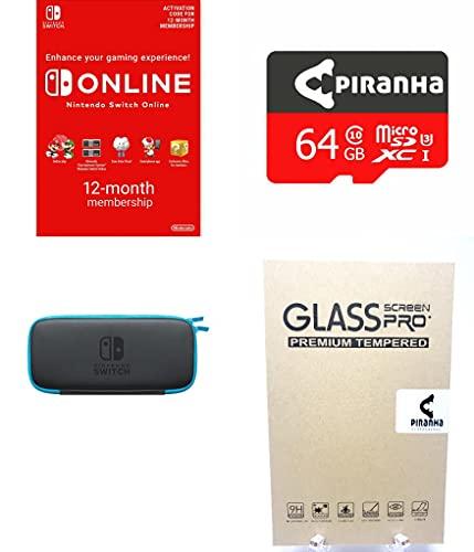 Aufbewahrungsbox, 64 GB Micro-SD-Karte, Displayschutzfolie und 12 Monate Online-Abonnement für Nintendo Switch