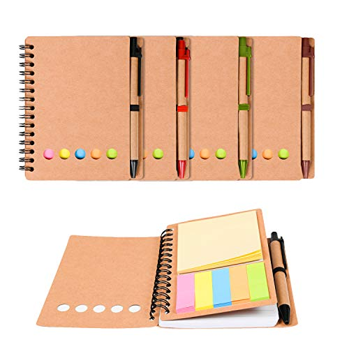 Kisdo 4 Packs Spiral Notebook Sticky Notes Business Notebook with